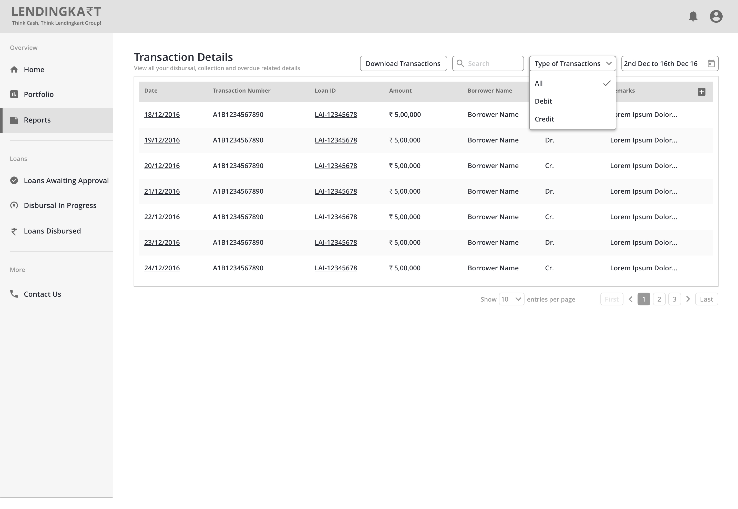 Dezinr-LendersDashboard-3.3 Reports Screen - Transaction Type